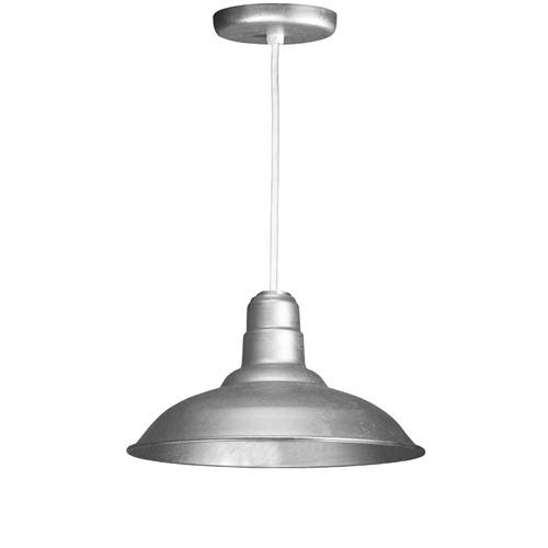 Warehouse Galvanized 16-Inch Outdoor Pendant with White Cord