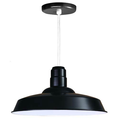 Warehouse Black 18-Inch Outdoor Pendant with White Cord