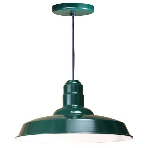 Warehouse Forest Green 18-Inch Outdoor Pendant with Black Cord