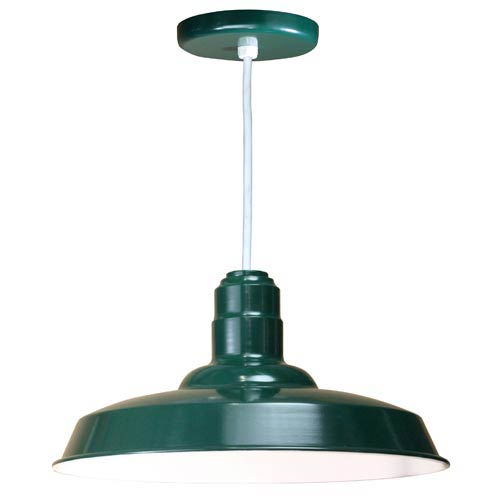 Warehouse Forest Green 18-Inch Outdoor Pendant with White Cord