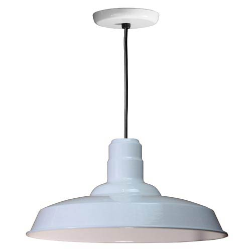 Warehouse White 18-Inch Outdoor Pendant with Black Cord