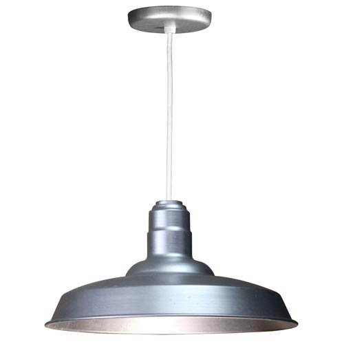 ANP Lighting Warehouse Galvanized 18-Inch Outdoor Pendant with White Cord