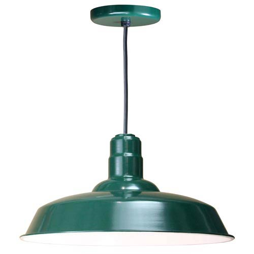 Warehouse Forest Green 20-Inch Outdoor Pendant with Black Cord