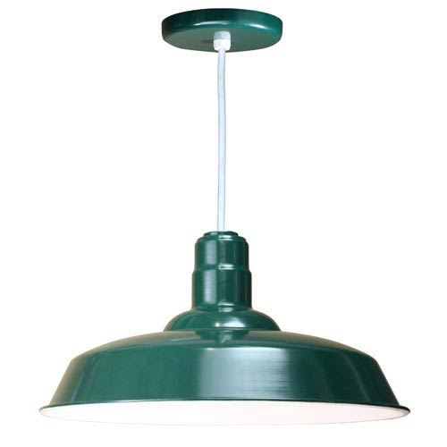 Warehouse Forest Green 20-Inch Outdoor Pendant with White Cord
