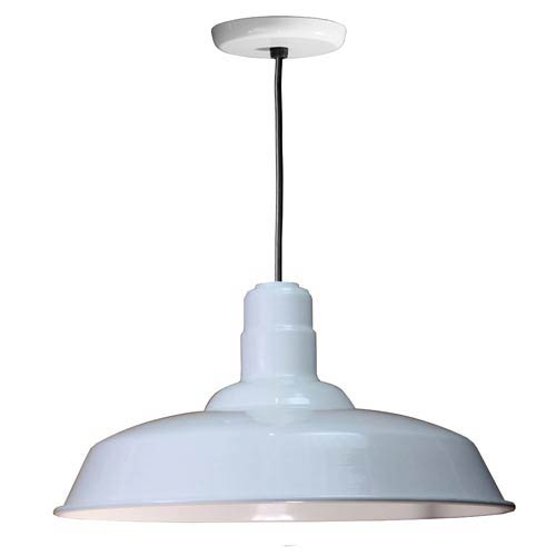Warehouse White 20-Inch Outdoor Pendant with Black Cord