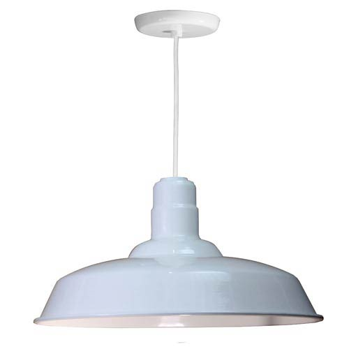 Warehouse White 20-Inch Outdoor Pendant with White Cord