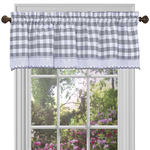 Buffalo Check Gray 58 x 14-Inch Window Curtain Valance