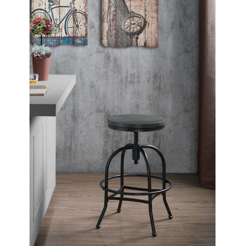 Kirtland Black Wood and Metal Adjustable Stool