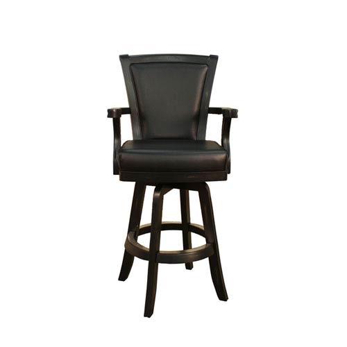 Auburn Peppercorn Bar Stool with Black Leather Cushion