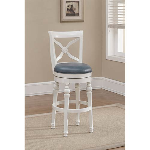 American Heritage Billiards Livingston Antique White Swivel Bar Height Stool