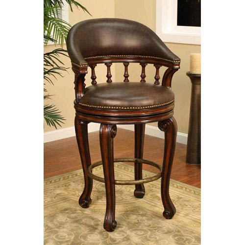 American Heritage Billiards Giovanni Canyon Bar Stool With Roma Leather Cushion