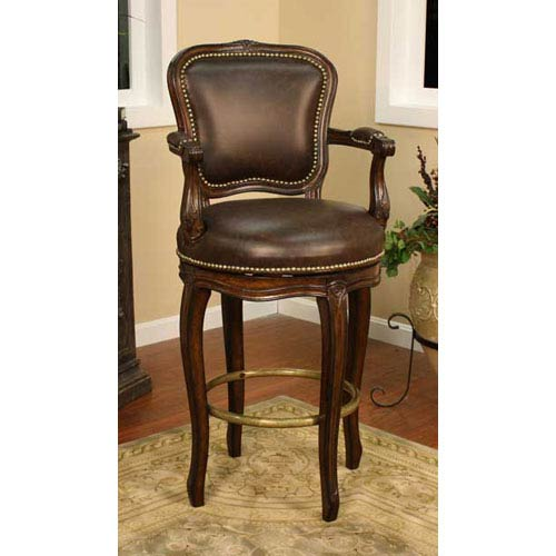 American Heritage Billiards Salvatore Buckeye Bar Stool with Roma Leather Cushion