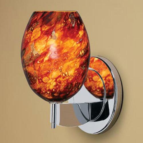 Bolero Chrome One-Light Wall Sconce with Autumn Leaf Glass