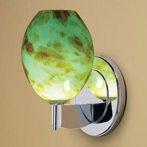 Bolero Chrome One-Light Wall Sconce with Seafoam Green Glass
