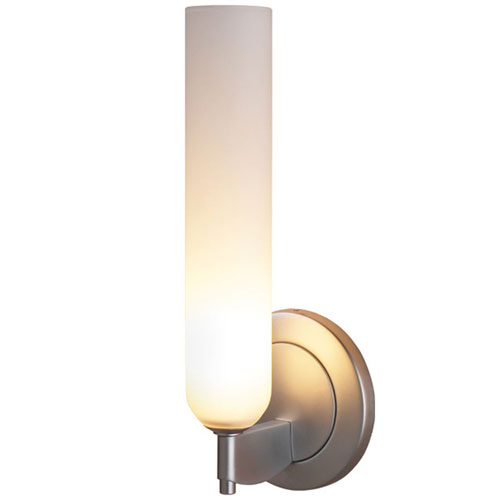 Bruck Lighting Systems Candle Matte Chrome Wall Sconce w/White Matte Glass