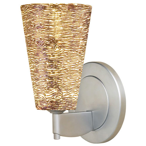 Bruck Lighting Systems Bling II Matte Chrome Wall Sconce w/Silver Textured Glass
