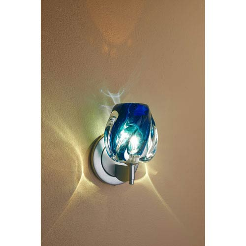 Aurora Matte Chrome One-Light Wall Sconce with Blue Glass