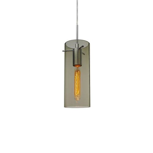 Luca Matte Chrome One-Light Line Voltage Mini Pendant with Smoky Glass