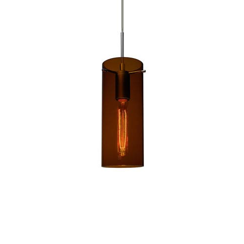 Luca Matte Chrome One-Light Line Voltage Mini Pendant with Bourbon Glass