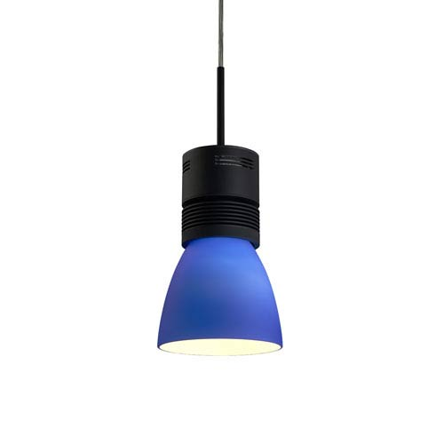 Bruck Lighting Systems Z15 Black 1600 Lumen LED Pendant with Blue Shade