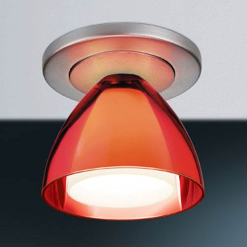 Bruck Lighting Systems Rainbow II Matte Chrome 4-Inch Ceiling Light with Red Glass with 4-Inch Canopy