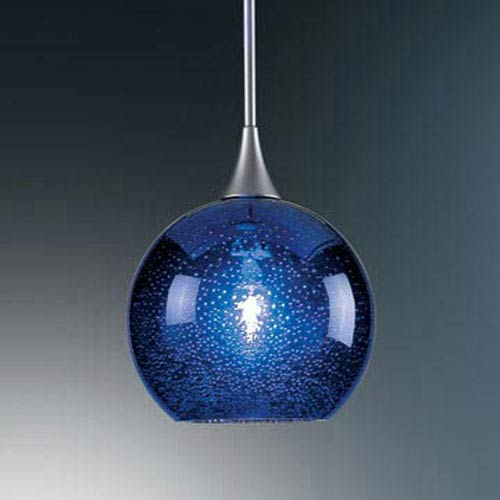Bobo Chrome Mini Pendant with Blue Glass