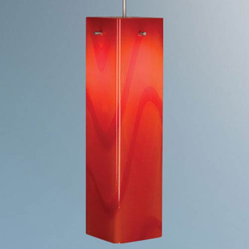 Houston Matte Chrome Mini Pendant with Red Glass