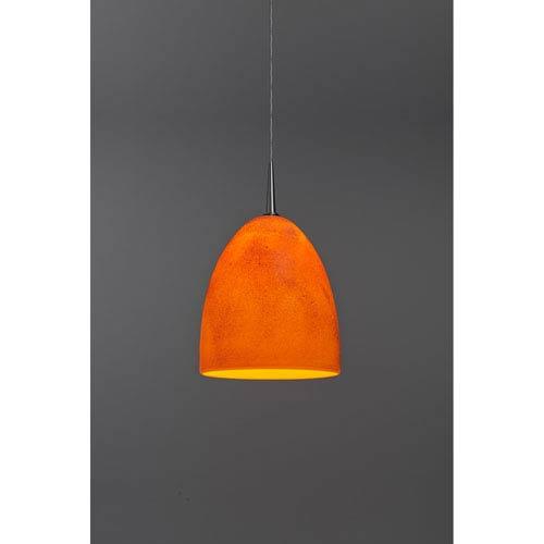 Alexander Chrome One-Light Low Voltage Mini Pendant with Tangerine Glass