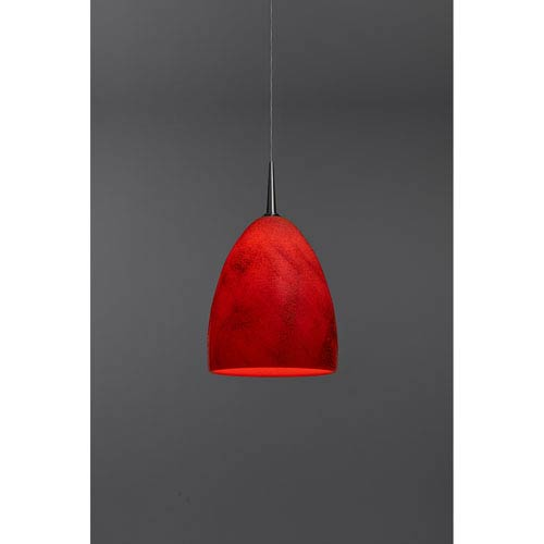 Alexander Chrome One-Light Low Voltage Mini Pendant with Red Glass