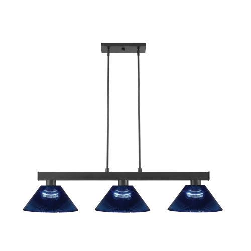 Cobalt Matte Black and Dark Blue Three-Light Billiard Pendant