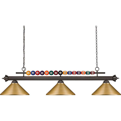 Z-Lite Shark Bronze 58-Inch Three-Light Pendant with Satin Gold Steel