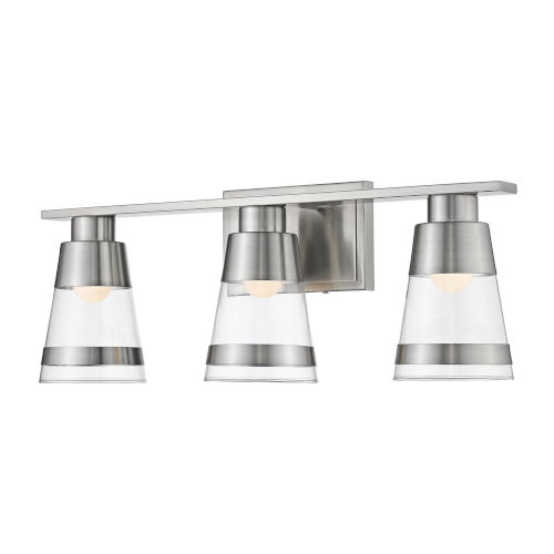 Ethos Brushed Nickel Three-Light LED Bath Vanity with Clear Glass