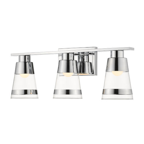 Ethos Chrome Three-Light LED Bath Vanity with Clear Glass