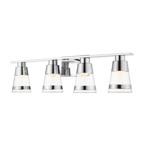Ethos Chrome Four-Light LED Bath Vanity with Clear Glass