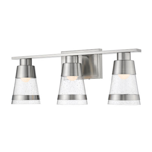 Ethos Brushed Nickel Three-Light LED Bath Vanity with Clear Seedy Glass