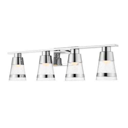 Ethos Chrome Four-Light LED Bath Vanity with Clear Seedy Glass