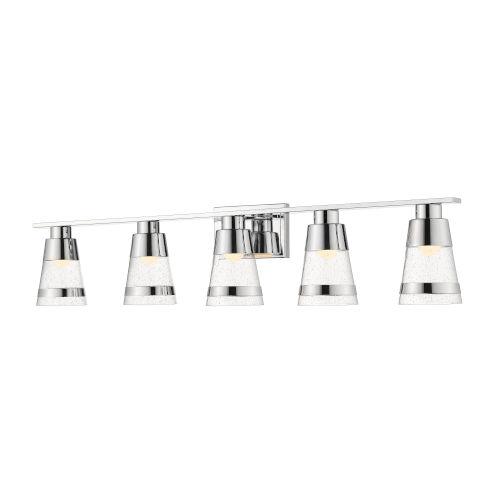 Ethos Chrome Five-Light LED Bath Vanity with Clear Seedy Glass