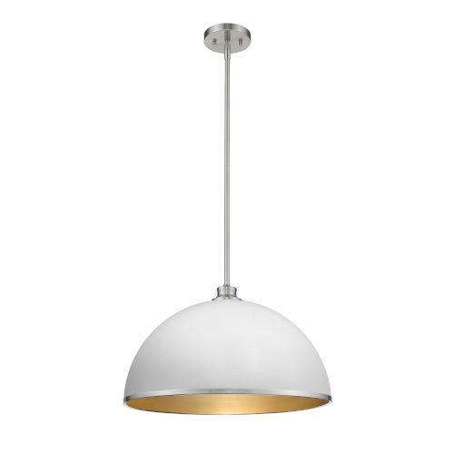 Citadel Hammered White and Brushed Nickel One-Light Pendant