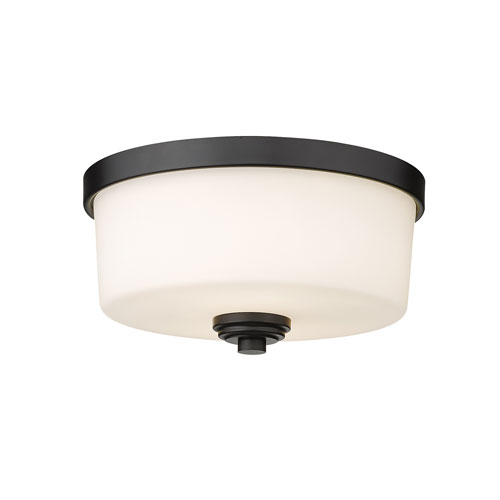 Arlington Matte Black Two-Light Flush Mount