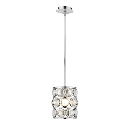 Eternity Chrome One-Light Mini Pendant With Transparent Crystal