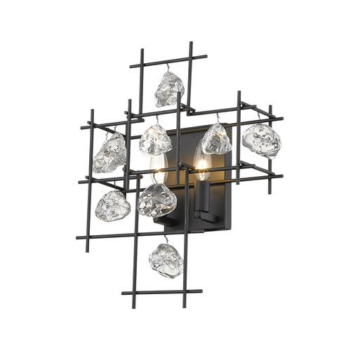 Garroway Matte Black Two-Light Wall Sconce