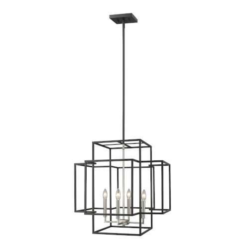 Titania Black and Brushed Nickel 22-Inch Four-Light Pendant