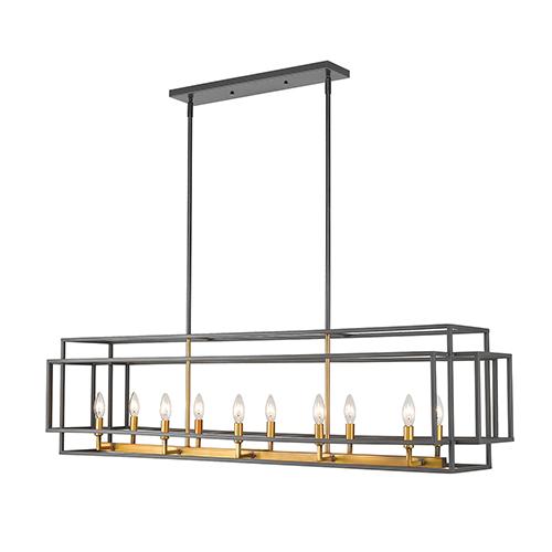 Titania Olde Brass 10-Light Linear Pendant