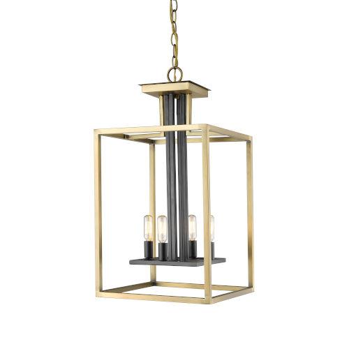 Quadra Olde Brass and Bronze Four-Light Chandelier