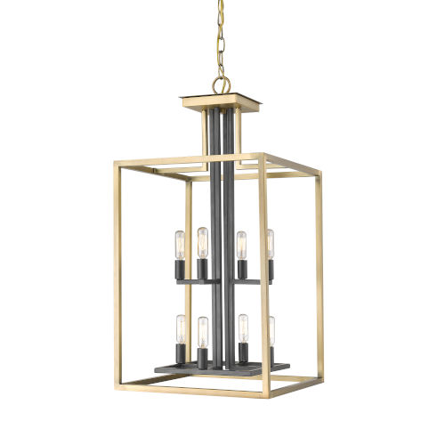 Quadra Olde Brass and Bronze Eight-Light Chandelier