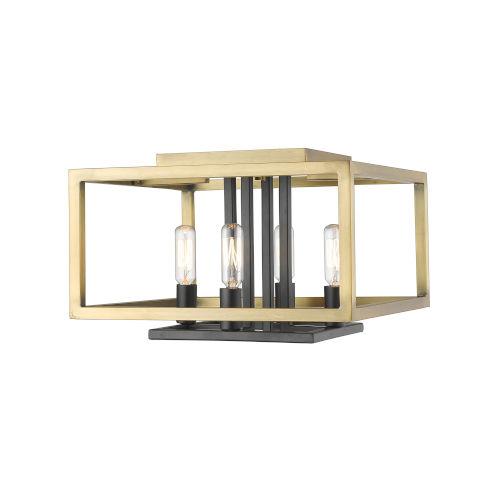 Quadra Olde Brass and Bronze Four-Light Flush Mount