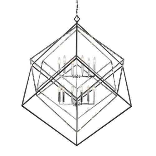 Euclid Chrome and Matte Black 12-Light Chandelier