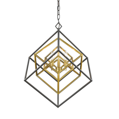 Euclid Olde Brass and Bronze Three-Light Chandelier