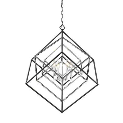 Euclid Chrome and Matte Black Four-Light Chandelier