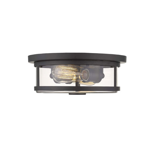 Savannah Bronze 11-Inch Two-Light Flush Mount